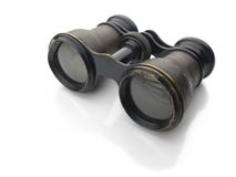Vintage binoculars isolated on white Royalty Free Stock Photos