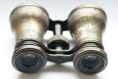 Vintage binoculars in a metal frame selective focus Royalty Free Stock Image