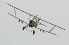Vintage biplane bomber. Vintage Hawker Hind fighter bomber flying towards camera Royalty Free Stock Image