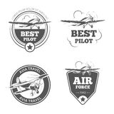 Vintage biplane and monoplane emblems vector set Stock Photo
