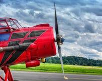 Old biplane propeller aircraft. Vintage biplane propeller aircraft Antonov AN Royalty Free Stock Image