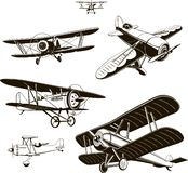 Vintage biplanes set vector black old, logo, emblem, label royalty free illustration