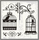 Vintage Bird Cages. With ornamental decorations Stock Photography