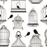 Vintage bird cages pattern. Isolated on white. Clipart Vector Royalty Free Stock Photography