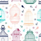 Vintage bird cages pattern. On white. Clipart Vector Stock Photography