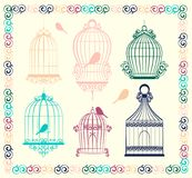 Vintage bird cages. Collection. Isolated on white. Clipart Vector Royalty Free Stock Photo