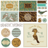Vintage Bird Party Set Royalty Free Stock Image