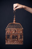 Vintage birdcage in female hand  on dark Royalty Free Stock Image