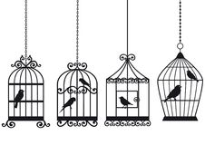 Vintage birdcages with birds vector illustration