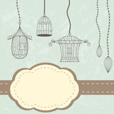 Vintage birdcages card. Vintage cages. Grunge background with label and birdcages vector illustration