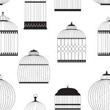Vintage Birdcages Silhouettes Seamless Pattern Stock Image