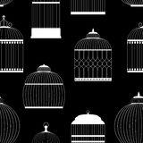 Vintage Birdcages Silhouettes Seamless Pattern Stock Photo