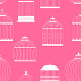 Vintage Birdcages Silhouettes Seamless Pattern Stock Images