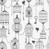 Vintage birds and birdcages collection. Seamless Royalty Free Stock Images