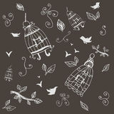 Vintage birds and birdcages. Pattern. Wallpaper. Royalty Free Stock Images