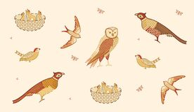 Free Vintage Birds Collection Isolated On Light Background. Vector Illustration Stock Photography - 190696032