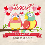 Vintage birds and love Royalty Free Stock Images