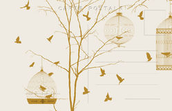 Vintage birds postcard 3. Vintage postcard with birds and bird cages Royalty Free Stock Photography