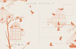 Vintage birds postcard. Vintage postcard with birds and bird cages Royalty Free Stock Images