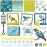 Vintage Birds Set Stock Photo