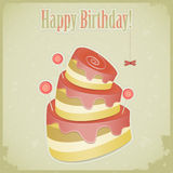 Vintage birthday card with cake Stock Images