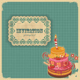 Vintage birthday card with cake and retro label Stock Image