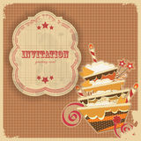 Vintage birthday card with cake and retro label stock illustration