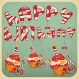 Vintage birthday card with Cakes Royalty Free Stock Photo