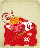 Vintage birthday card with Chocolate Berry Cake. In Envelope, email concept. Illustration Stock Images