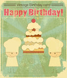 Vintage birthday card Design with chefs royalty free illustration