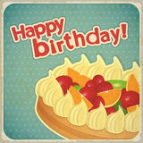 Vintage birthday card with Fruit Cake Stock Photography