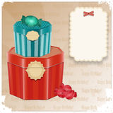 Vintage Birthday Card - gift box and  blank note. Illustration Royalty Free Stock Images