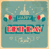 Vintage Birthday Card. Grunge effects on separate layer Royalty Free Stock Photography