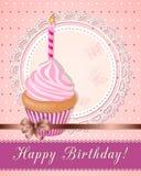 Vintage birthday card with pink cupcake on napkin Stock Image