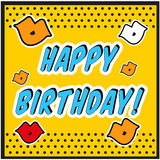 Vintage Birthday Card Pop art style with kiss sign. Royalty Free Stock Images