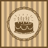 Vintage birthday card. Vintage style birthday card with cake decoration Royalty Free Stock Photo