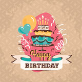 Vintage birthday greeting card with big cake vector illustration Stock Photo