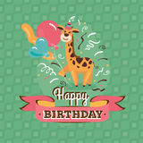 Vintage birthday greeting card with giraffe Royalty Free Stock Images