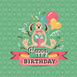 Vintage birthday greeting card with a hare vector illustration Stock Images