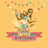 Vintage birthday greeting card with a monkey vector illustration Stock Photo