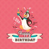Vintage birthday greeting card with a penguin vector illustratio Royalty Free Stock Photography