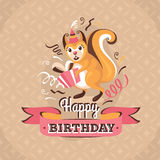 Vintage birthday greeting card with a squirrel vector illustrati Royalty Free Stock Image