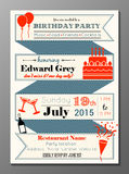 Vintage birthday party invitation card. Vector illustration of vintage birthday party invitation card Royalty Free Stock Images