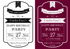 Vintage Birthday Party invitation Stock Photos