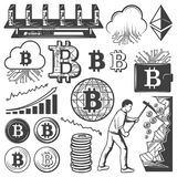 Vintage Bitcoin Currency Elements Collection. With cloud server coins graphs wallet computer hardware mining process isolated vector illustration Stock Photos