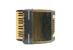 Vintage black accordion isolated on white backgrou Royalty Free Stock Photography