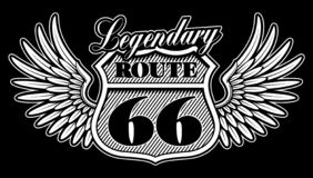 Free Vintage Black And White Emblem Of Route 66 With Wings. Royalty Free Stock Image - 125230386