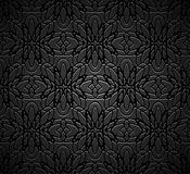 Vintage black background with engraved pattern. Vintage black ornamental background with engraved pattern, filigree wrought texture stock illustration
