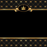 Vintage black background with frame of golden elem Stock Images