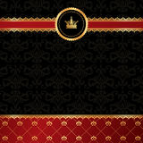 Vintage black background with golden ornamental ri. Bbon, red damask pattern and crown Stock Images